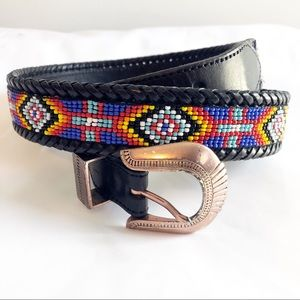Leather beaded braided belt colorful Aztec design
